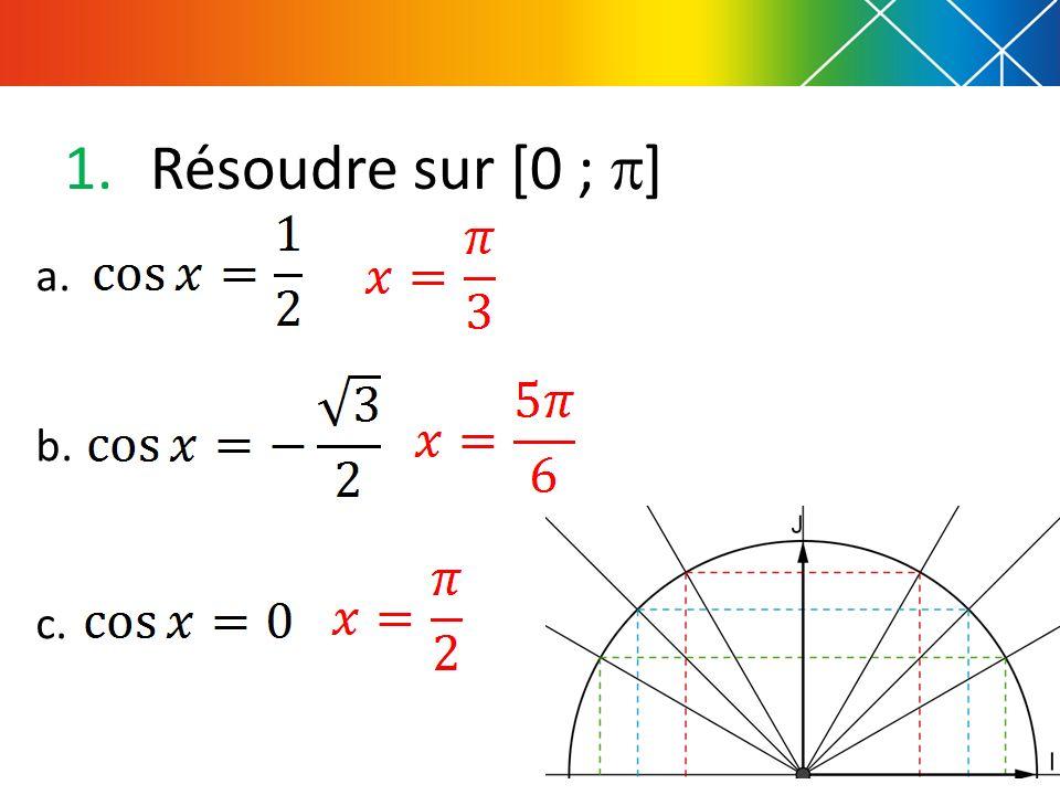 Résoudre sur [0 ; ] a. b. c.